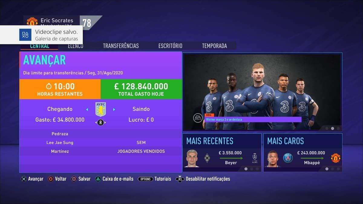 transferência modo carreira jogador FIFA 21